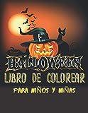 Libro de colorear Halloween para niños y niñas: 50 dibujos con temática de Halloween, 100...
