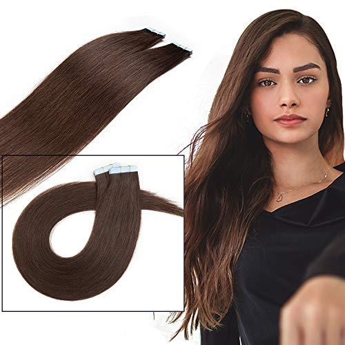 10 Pcs Extension Adhesive Naturel Rajout Vrai Cheveux Humain Bande Adhesive Lisse (#02 Brun, 18\