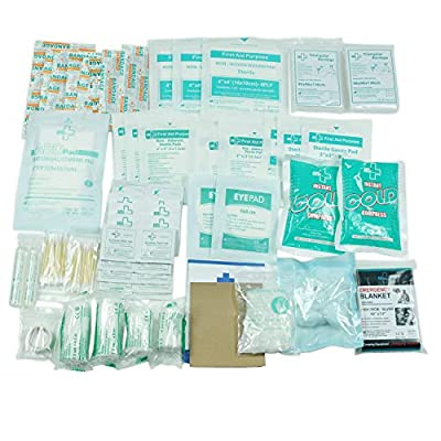 160 Piece First Aid Kit Bag Refill Kit - Includes 2 x Eyewash,2 x Instant Cold Pack, Bandage, 6 x Cleaning Towelette for Travel, Home, Office, Car, Camping, Boat, Workplace from HANGZHOU AOSI HEALTHCARE CO.,LTD