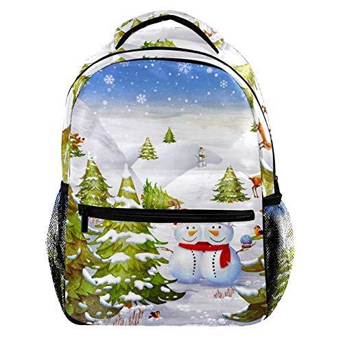 Mochila de invierno con diseño de muñecos de nieve, animales y abetos en la luz, para el ordenador portátil, para hombres, para la escuela, para viajes, para mujeres y niñas