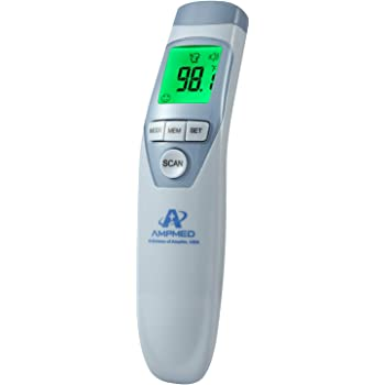 Amplim Non-Contact Touchless Infrared Digital Forehead Thermometer for Adults and Baby Hospital Medical Grade No Touch