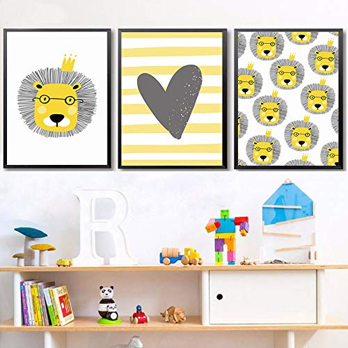 WEDSA Mural Canvas Painting Poster Decoración del hogar Nordic Cute Cartoon Animal Lion Niños Dormitorio Canvas Painting Art Abstract Print Poster Picture Wall Baby Home Decoration 40x60cmx3 Sin marco