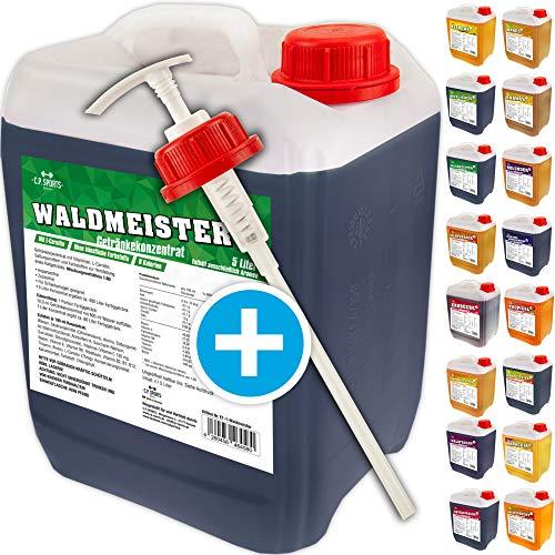 C.P. Sports Getränkekonzentrat 5 Liter Getränke Sirup Electrolyte Mineral-Vitamin Konzentrat versch. Sorten inkl. DOSIERSPENDER mit L-Carnitin (Waldmeister)