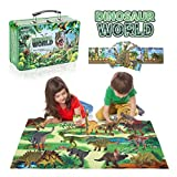 FAHZON Dinosaur Toys for Boys & Girls with Metal Storage Box and Activity Playmat, 14 Large 7 Inch Educational Realistic Dinosaur Set, Gifts for Kids Age 3 4 5 6 7 8
