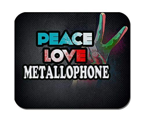 Makoroni - Peace Love METALLOPHONE Music- Non-Slip Rubber - Computer, Gaming, Office Mousepad