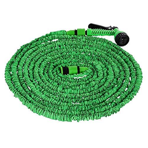 Agua Flexible expandible Mangueras de plástico Tubo Pistola de pulverización Multifuncional para jardín con 6 Tipos (Color : Green, Lengh : 125ft)