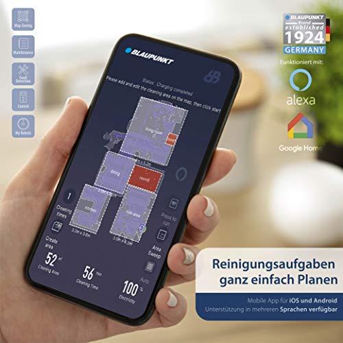 Foto von Blaupunkt BlueBot Xtreme - Saugroboter Lasernavigation mit Wischfunktion, interaktive Karten für Etagen + NO-GO Zonen, Staubsauger Roboter 3000Pa Saugkraft, 360° Radarlaser, App + Sprachsteuerung