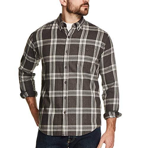 Weatherproof Vintage Men's Flannel Shirt (Charcoal Plaid, Large)