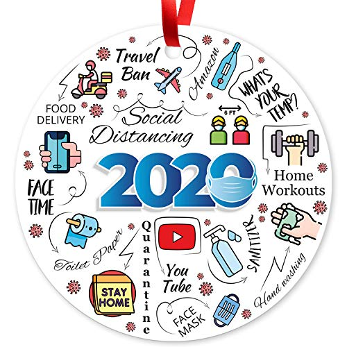 2020 Christmas Ornaments, Large 3.75' Round Metal Ornament, Sigo Signs Velvet Pouch Included, by Soul Décor