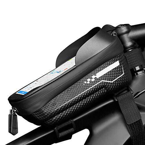 LTSWEET Bolsas para el Manillar Impermeable Clásico Universal Bolsa Bici Soporte para Telefono Móvil Bolsa Táctil de Tubo Superior Delantero Bolsas de Bicicleta, Negro