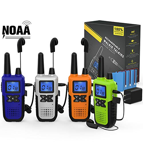 4 Rechargeable Two Way Radios Long Range for Adults - NOAA FRS GMRS Walkie Talkies 2 Way Radios - 2way Walkie Talkies with Headset Mic Weather Radio USB Cable Charger Battery Lanyard (Colorful)