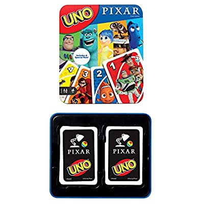 Mattel ?UNO Pixar 25th Anniversary Card Game with 112 Cards & Instructions in Storage Tin for Players 7 Years & Older, Gift for Kid, Family & Adult Game Night?, Multi (GVP47) from Mattel