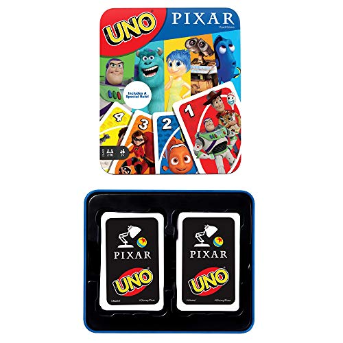 UNO Pixar 25th Anniversary Card Game with 112 Cards & Instructions in Storage Tin for Players 7 Years & Older, Gift for Kid, Family & Adult Game Night [Amazon Exclusive]