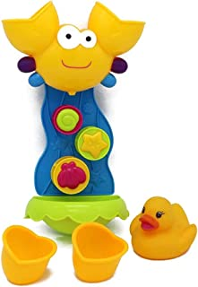 VERZABO Rubber Duck Bath Toy with Goofy Fun Waterfall Tower Toy Set That Includes a Water Pail and Floating Ball