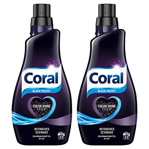 Preisvergleich Produktbild Coral Flüssigwaschmittel (für intensives Schwarz Black Velvet,  mit Faser-Schutz-Serum) 2er Pack (22 WL)