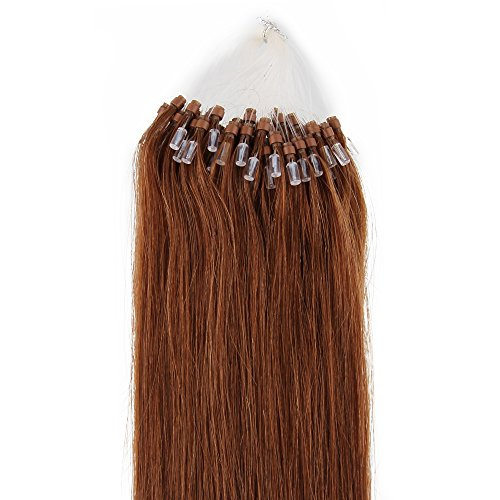 Beauty7 100 Extension de Cheveux Naturel 46CM EASY LOOP Anneaux Pose a Froid #8 Couleur Marron Clair Poid 50g