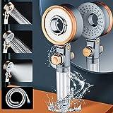KwuLee Soffione doccia a 3 tipi di getto, con filtro in cotone PP, ad alta pressione, a risparmio d'acqua e tubo da 1,5 m, per bagno con resine o acqua morbida