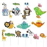 Keleily Dinosaur Cupcake Topper 45pcs Selva Animal Cupcake Topper y Envoltorio Incluyendo Elefantes, Monos, Cebras, Leones para Niños Fiesta de Cumpleaños, Baby Shower