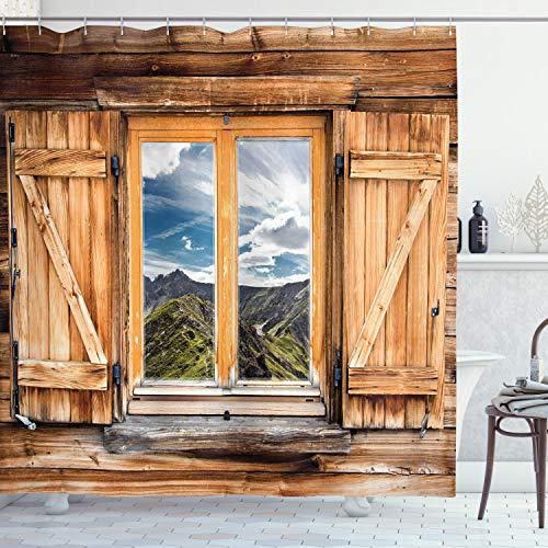 ABAKUHAUS Bunt Duschvorhang, Berge & Täler, mit 12 Ringe Set Wasserdicht Stielvoll Modern Farbfest & Schimmel Resistent, 175x240 cm, Mehrfarbig