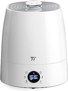 加湿器 TaoTronics 超音波 卓上 冷霧・熱霧変換可 5.5L大容量 ミスト3階段調節 6つのLEDアイコン お手入れ簡単 省エネ 湿度センサー 16時間連続加湿 ノズル360°調整 空焚き防止 12~24畳 [一年間安心保証] TT-AH007