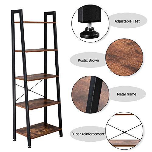 Bonnlo Ladder Shelf – Industrial 5-Tier Bookshelf, Free Standing Plant Storage Shelf for Office, Living Room, Kitchen, Bedroom, Bathroom, Rustic Brown