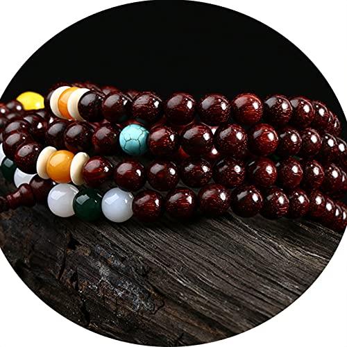 J.Memi's Mala Budista Tibetano Pulsera, 6 mm Cuentas Cuff Bracelet Collar De Meditación De Yoga, Hecho A Mano Regalos Accesorios,A