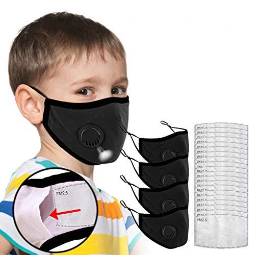 4 Stück Atmungsaktiv Gesichtsbedeckung waschbar mundschutz mit 20 Filter, wiederverwendbar mundschutz für Kinder zum Laufen, Radfahren (Schwarz)