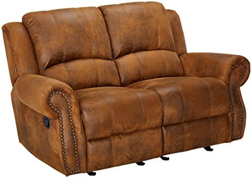 Best Sir Rawlinson Gliding Reclining Loveseat with Nailhead Studs Buckskin Brown