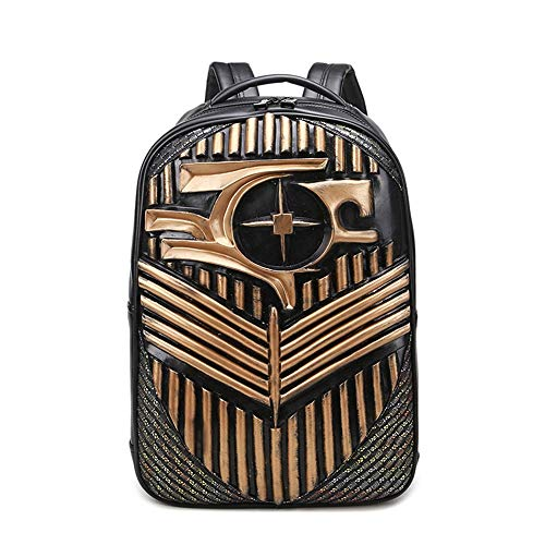 WHSS Outdoor Backpack PU Leather Men's Bag Women's Shoulder Computer Backpack Student Bag 3D Stereo Pattern Outdoor Travel Large Capacity Solid Color Package Trend Fashion (Color : Gold)