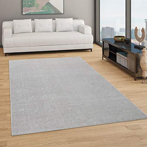 Paco Home Teppich Wohnzimmer Einfarbig Schlicht Und Modern Kurzflor, Versch. Größen Farben, Grösse:80x150 cm, Farbe:Silber