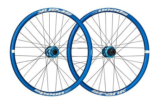 Spank Spoon28 24 Zoll Kids wheelset 15 mm, 12/142 mm QR Adapter Laufräder, Blue