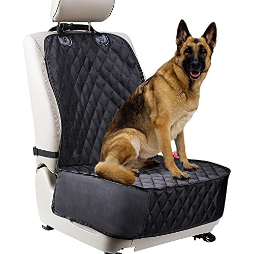 Dog Car Seat Cover for Front Seats. Scratch Proof Waterproof Car Seat Cover for Dogs. Fits Most Trucks, Vans, and SUVs (Black)