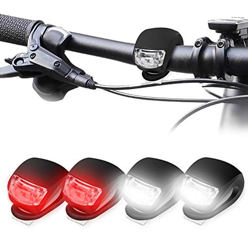 KOROSTRO LED Bicicleta Luz Sets, Luces Bicicleta LED Silicona Impermeable Juego De 4 Luces LED Clip-On Silicone Luces De Bicicleta Blanco Faro y Luz Trasera Roja, Pilas Incluido