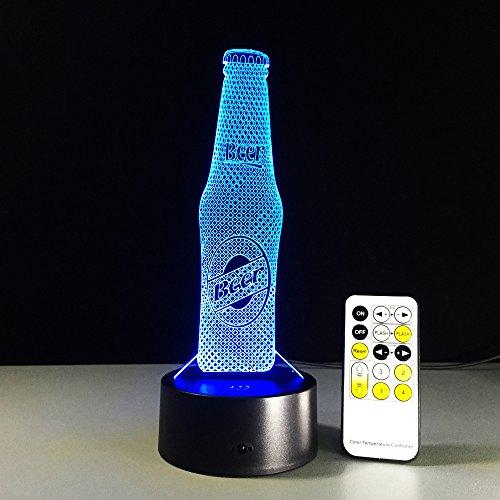 ZYEDENG® 3D LED Bierflaschen Nachtlicht Illusion Lampe 7 Farbwechsel Dekor Lampe Nachttischlampe Schlaflicht perfekte Geburtstags geschenke Kinder Spielzeug