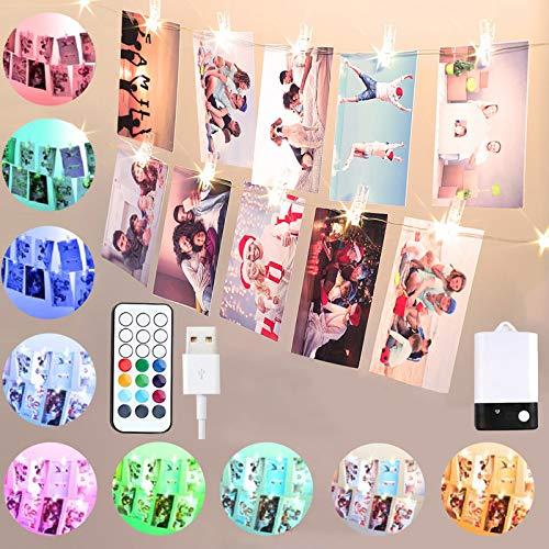 50 LED Fotoclips Lichterkette für Zimmer, Warmweiß & Bunt Lichterkette mit Klammern für Fotos,5M 50 Clips USB/Batteriebetrieben Stimmungsbeleuchtung,Geschenke Teenager für Wohnzimmer Schlafzimmer Deko