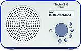 TechniSat VIOLA 2 tragbares DAB Radio (DAB+, UKW, Lautsprecher, Kopfhöreranschluss, zweizeiliges Display, Tastensteuerung, klein, 1 Watt RMS) weiß/blau