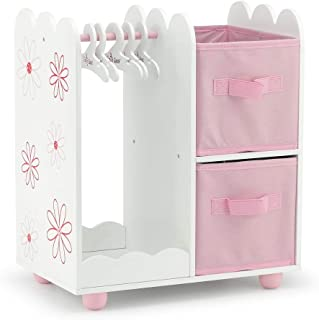 18 Inch Doll Furniture | Doll Accessories Floral Design Open Wardrobe 18 Inch Doll Closet, Includes 3 Wooden Doll Clothes ...