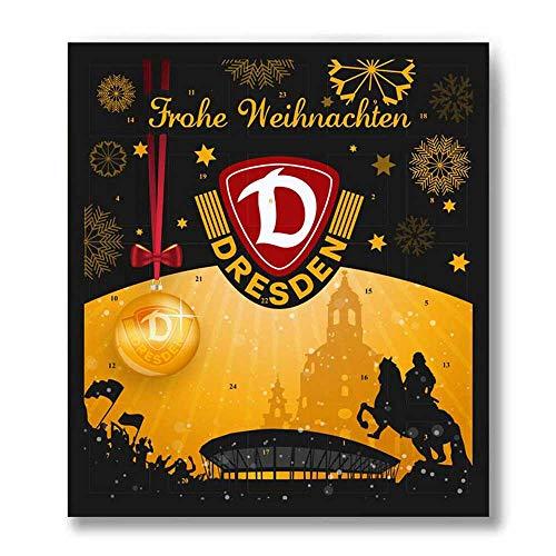 Premium Schoko-Adventskalender – Der lustige Weihnachts-Countdown bis Heilig Abend aus Fairtrade-Kakao + Mannschaftsposter/Fanposter + Fanshop-Gutschein (200 g) (SG Dynamo Dresden)