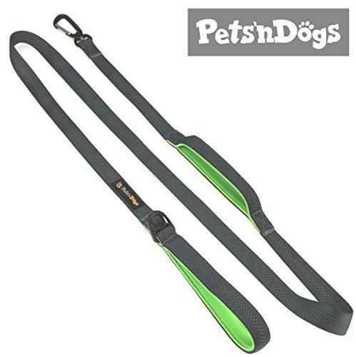 Pets\'nDogs Gepolsterte Führleine | Hundeleine mit Sicherheits-Karabiner für große und mittlere Hunde | 180cm | Reflektierend | Extrem leicht