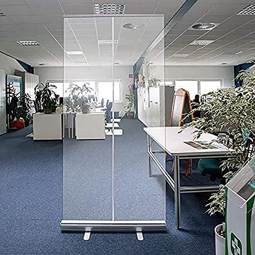 WFLRF Niesschutz Trennwände, Transparantes Roll Banner Schutzwand Spuckschutz Trennwand Stellwand Hustenschutz Virenschutz (120 * 200Cm)