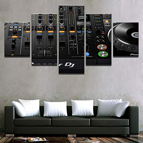 QAZWSY muurkunst afdrukken 5 stuks muziek Dj console instrument mixer schilderijen nachtclub bar poster decor 20x35 20x45 20x55cm Frame