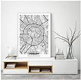 Cqzk Moskau Stadtplan Poster Leinwand Kunstdrucke Moderne