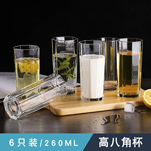 VYEKL Glas Familie Set hitzebeständige transparente Teetasse Wohnzimmer Saft Milch Tasse 260ml 6