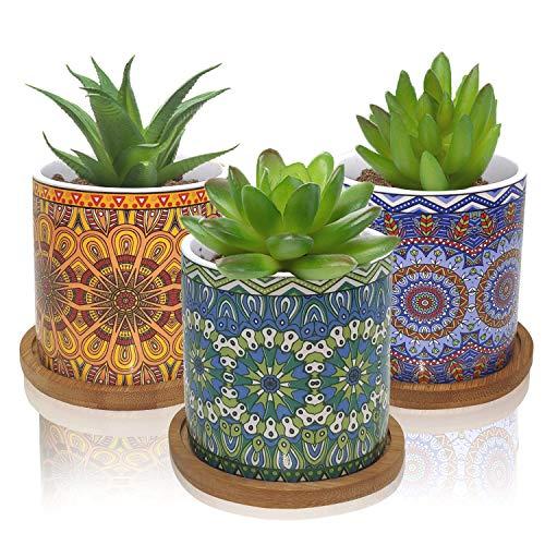 Succulent Pots Small Succulent Planters Bohemian Ceramic Flower Pot Garden Planters Cactus...