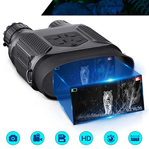 """Digital Night Vision Binoculars, Take Photos & Videos, with 1300ft Viewing Range , 32GB TF Card, 4"""" Large Screen, 3.5-7x31mm Infrared Spy Gear 850nm IR, Night Vision Goggles for Hunting Surveillance"""