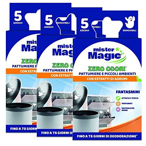 Mister Magic - Ambientador para cubos de basura y espacios pequeños con extractos de cítricos, 5 unidades, paquete de 3 envases