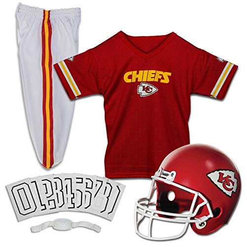 Franklin Sports Kansas City Chiefs Kids Football Uniform Set - NFL Youth Football Costume for Boys & Girls - Set Includes Helmet, Jersey & Pants - Small