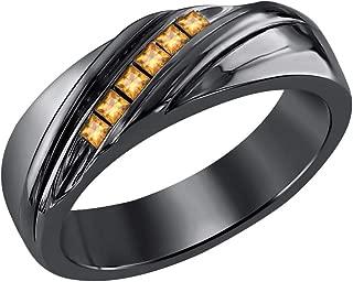 RUDRAFASHION 14k Black Gold Over Sterling Silver Princess Cut Created Gemstones 6-Stone Men's Wedding Band Anniversary Ring