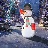 wolketon Muñeco de Nieve Inflable 240cm Decoración Exterior Inflable Iluminación de Navidad Fiesta de Navidad Que Ilumina el Jardín de Navidad