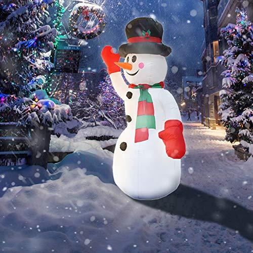 wolketon 240cm Aufblasbarer Schneemann, LED Beleuchtet Weihnachtsdekoration inkl. Befestigungsmaterial, Weihnachtsdeko Figur witterungsbeständig IP44